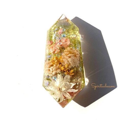 【フラワーオルゴナイトクリスタル/アンティークカラーの花々】/Spiritualeason:スピリズ