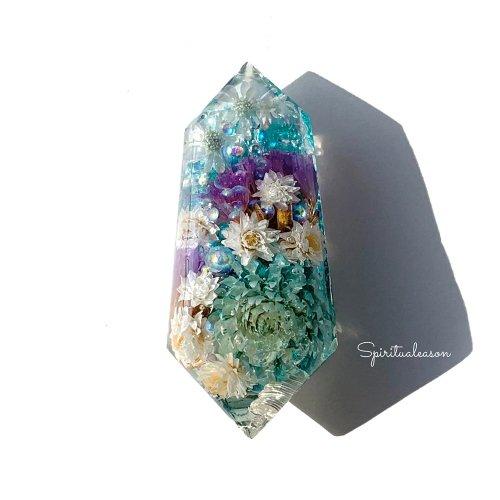 【フラワーオルゴナイトクリスタル/青い花々】/Spiritualeason:スピリズ