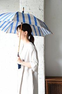 会津木綿パラソル ひじり縞 手元桜 日傘