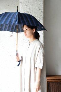 会津木綿パラソル 黒かつお縞 手元桜 日傘