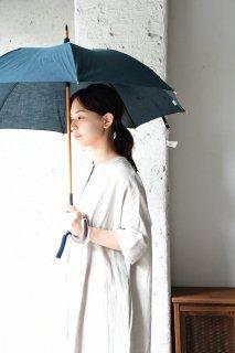 会津木綿パラソル 黒緑 手元桜 日傘