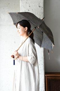 会津木綿パラソル 棒縞 手元竹 日傘
