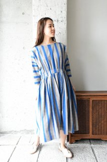 (ご予約)ヤンマ産業 会津木綿Xラインワンピースロング丈 AXL-OP-L