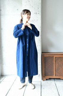 (即売)ヤンマ産業 会津木綿丸首ワンピース(袖丈20cmプラス) AMK-OP