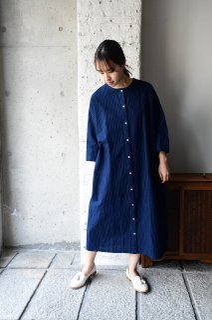 (即売)ヤンマ産業 松阪木綿丸首ワンピース(袖丈10cmプラス) AMK-OP