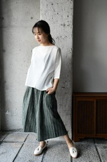 (WEB受注)はらっぱ×ヤンマ産業 はらっぱの会津木綿で作るキュロットパンツロング丈 ACR-PT-L