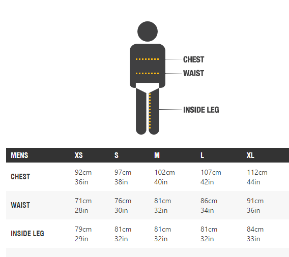 MOON Mens Size Chart
