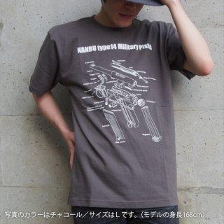 南部14年式拳銃前期型Tシャツ-チャコール