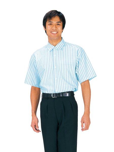 マリーナストライプシャツ半袖男女兼用ホワイト×サックス S4901-2