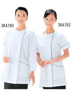 調理用白衣 | 女子パイピング半袖白衣 SKA782