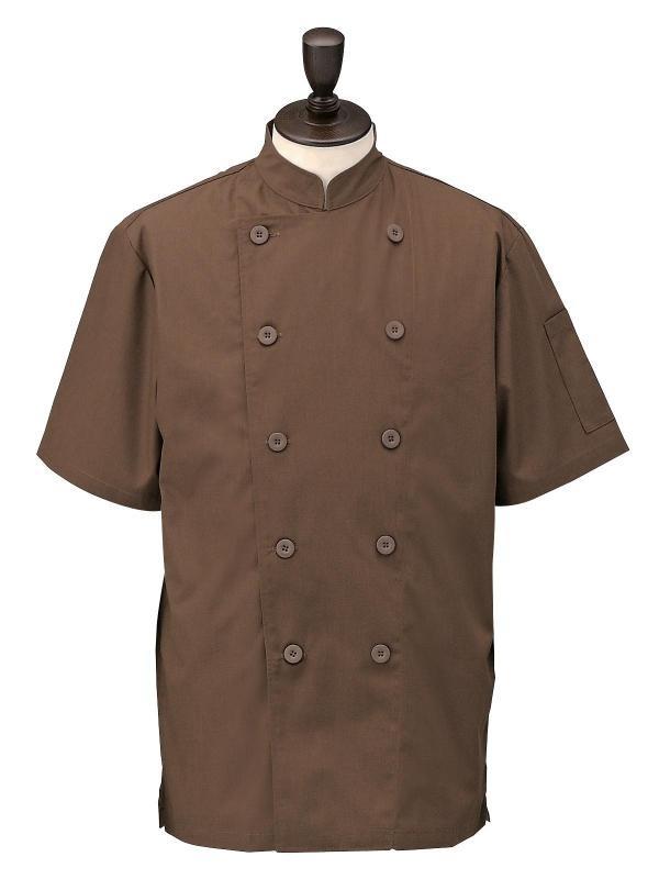 コックシャツ ダブル 男女兼用 SBK3800 ブラウン