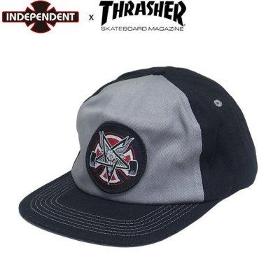 INDEPENDENT x THRASHER PENTAGRAM CROSS SNAPBACK CAP Grey/Black スラッシャー インディ スナップバック キャップ 帽子