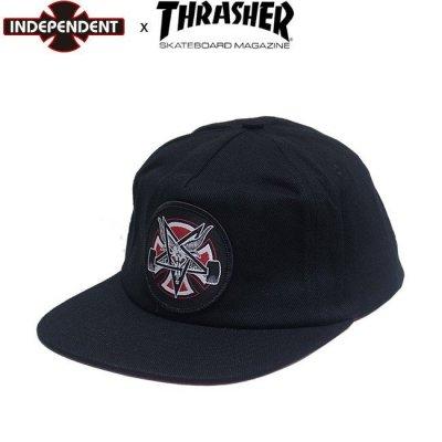 INDEPENDENT x THRASHER PENTAGRAM CROSS SNAPBACK CAP Black スラッシャー インディ スナップバック キャップ 帽子