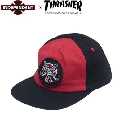 <img class='new_mark_img1' src='//img.shop-pro.jp/img/new/icons25.gif' style='border:none;display:inline;margin:0px;padding:0px;width:auto;' />INDEPENDENT x THRASHER PENTAGRAM CROSS SNAPBACK CAP CARDINALBLACK スラッシャー インディ スナップバック キャップ 帽子