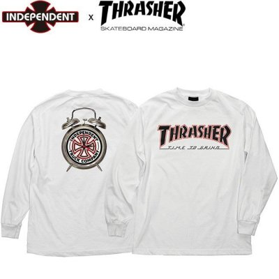 INDEPENDENT x THRASHER TIME TO GRIND LS TEE INDY WHITE インディ スラッシャー 長袖 ロングスリーブ Tシャツ ロンT ホワイト