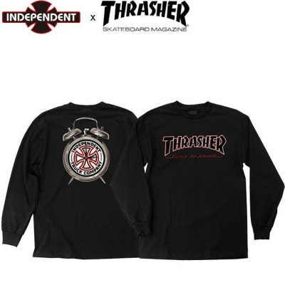 <img class='new_mark_img1' src='//img.shop-pro.jp/img/new/icons25.gif' style='border:none;display:inline;margin:0px;padding:0px;width:auto;' />INDEPENDENT x THRASHER TIME TO GRIND LS TEE INDY BLACK インディ スラッシャー 長袖 ロングスリーブ Tシャツ ロンT ブラック