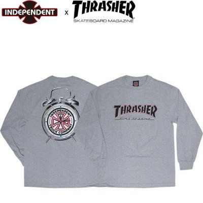 <img class='new_mark_img1' src='//img.shop-pro.jp/img/new/icons1.gif' style='border:none;display:inline;margin:0px;padding:0px;width:auto;' />INDEPENDENT x THRASHER TIME TO GRIND LS TEE INDY ATHHEATHER インディ スラッシャー 長袖 ロングスリーブ Tシャツ ロンT