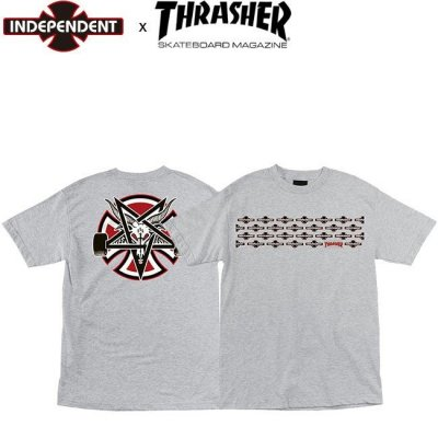 <img class='new_mark_img1' src='//img.shop-pro.jp/img/new/icons1.gif' style='border:none;display:inline;margin:0px;padding:0px;width:auto;' />INDEPENDENT x THRASHER PENTAGRAM CROSS SS TEE INDY ATHHEATHER  インディペンデント スラッシャー インディ 半袖 Tシャツ グレー