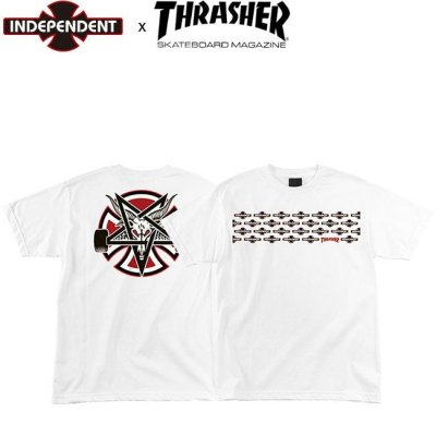 <img class='new_mark_img1' src='//img.shop-pro.jp/img/new/icons1.gif' style='border:none;display:inline;margin:0px;padding:0px;width:auto;' />INDEPENDENT x THRASHER PENTAGRAM CROSS SS TEE INDY WHITE インディペンデント スラッシャー インディ 半袖 Tシャツ ホワイト