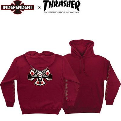<img class='new_mark_img1' src='//img.shop-pro.jp/img/new/icons14.gif' style='border:none;display:inline;margin:0px;padding:0px;width:auto;' />INDEPENDENT x THRASHER PENTAGRAM CROSS PULLOVER HOODED SWEAT INDY インディペンデント スラッシャーフードスエット パーカー