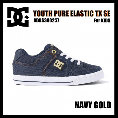 <img class='new_mark_img1' src='https://img.shop-pro.jp/img/new/icons24.gif' style='border:none;display:inline;margin:0px;padding:0px;width:auto;' />【SALE】DC Shoes  YOUTH PURE ELASTIC TX SE Navy Glod ADBS300257 ディーシーキッズ