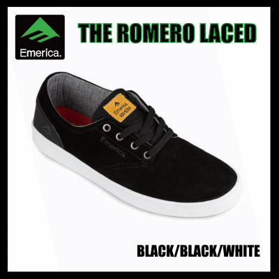 <img class='new_mark_img1' src='https://img.shop-pro.jp/img/new/icons16.gif' style='border:none;display:inline;margin:0px;padding:0px;width:auto;' />【SALE】Emerica THE ROMERO LACED Black/Black/White エメリカ
