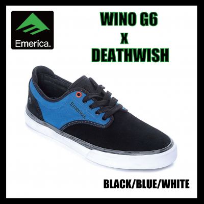 【SALE】Emerica WINO G6 x DEATHWISH  Black/Blue/White エメリカ