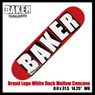 BAKER 【Brand Logo White Deck Mellow Concave】 8inch SKATEBOARD ベイカー  スケボー デッキ 板 スケート