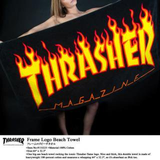 <img class='new_mark_img1' src='//img.shop-pro.jp/img/new/icons32.gif' style='border:none;display:inline;margin:0px;padding:0px;width:auto;' />THRASHER FLAME LOGO BEACH TOWEL ビーチタオル162 x 82cm 超大判タオル