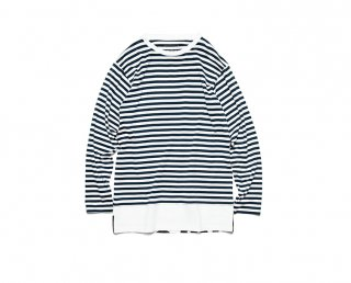 【uniform experiment】L/S FAKE LAYERED HEM LOGO BORDER TEE