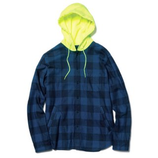 【SOPHNET.】INDIGO FLANNEL CHECK HOODED SHIRT