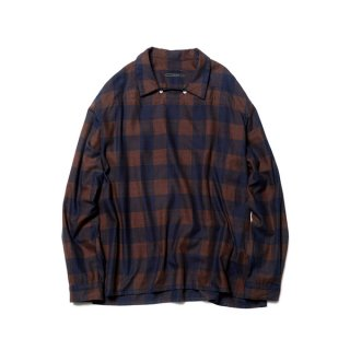 【SOPHNET.】INDIGO FLANNEL CHECK BIG PULL OVER SHIRT