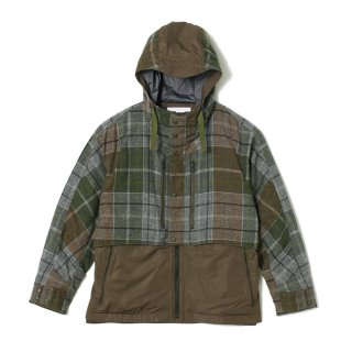 【White Mountaineering】WINDSTOPPER × WOOL MULTI CHECK CONTRASTED MOUNTAIN PARKA