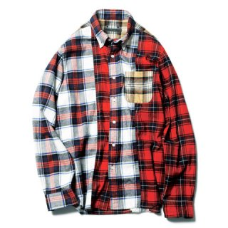 【SOPHNET.】MIX FLANNEL CHECK B.D SHIRT