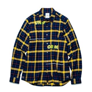 <img class='new_mark_img1' src='//img.shop-pro.jp/img/new/icons5.gif' style='border:none;display:inline;margin:0px;padding:0px;width:auto;' />【uniform experiment】UNIFORM EMBROIDERY REGULAR COLLAR FLANNEL CHECK SHIRT