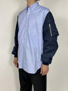 【COMME des GARCONS HOMME】綿オックスシャンブレー × ナイロンツイルシャツ