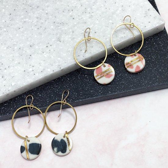 【ピアス/イヤリング】Brass Hoop / Dalmatian Earrings【Little Lovers Ceramics】