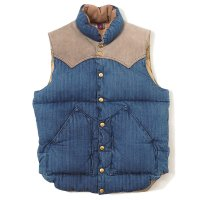 WAREHOUSE / ROCKY MOUNTAIN×WAREHOUSE INDIGO HBT DOWN VEST USED WASH