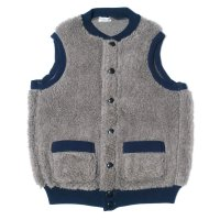 HELLER'S CAFE / HC-146 1920's Utica Gray-Navy Old Fleece Pile Vest