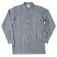[ご予約商品] HELLER'S CAFE / HC-254 1910-20's Indigo Stripe All Single Needle Coat Style Shirts OR