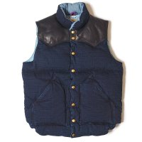 WAREHOUSE & CO. / Lot 2123 ROCKY MOUNTAIN×WAREHOUSE & CO. INDIGO RIP STOP DOWN VEST LONG WASH