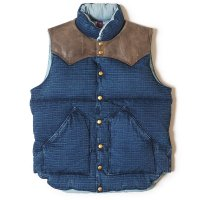 WAREHOUSE & CO. / Lot 2123 ROCKY MOUNTAIN×WAREHOUSE & CO. INDIGO RIP STOP DOWN VEST USED WASH