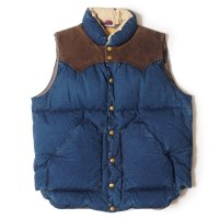WAREHOUSE & CO. / Lot 2140 ROCKY MOUNTAIN × WAREHOUSE INDIGO DUCK DOWN VEST USED WASH