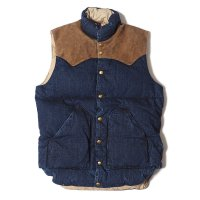 WAREHOUSE & CO. / Lot 2157 ROCKY MOUNTAIN × WAREHOUSE INDIGO DOWN VEST LONG WASH