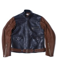 HELLER'S CAFE / HC-145 1930's Two-tone Leather Motorcycle Jacket With a Chinstrap