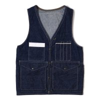 HELLER'S CAFE / HC-229 1940's Bag-pocket Hunting Vest Indigo Denim OR