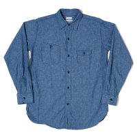 HELLER'S CAFE / HC-230 1930's Roomy Richard Cigarette Pocket Chambray Shirt O/W