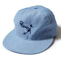 EBBETS FIELD FLANNELS×WAREHOUSE / COTTON BASEBALL CAP NAVSTA GREAT LAKES シャンブレー