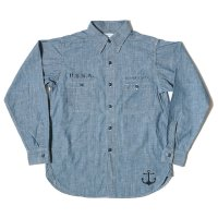 WAREHOUSE × U.S.NAVAL ACADEMY / CHAMBRAY WORK SHIRTS SAX OR