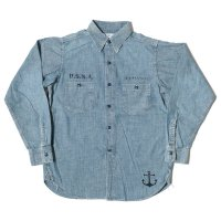 WAREHOUSE × U.S.NAVAL ACADEMY / CHAMBRAY WORK SHIRTS SAX DSB